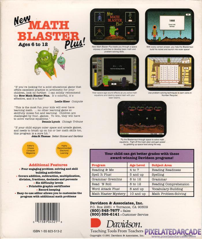New Math Blaster Plus! Cover Art: Back Cover - PixelatedArcade