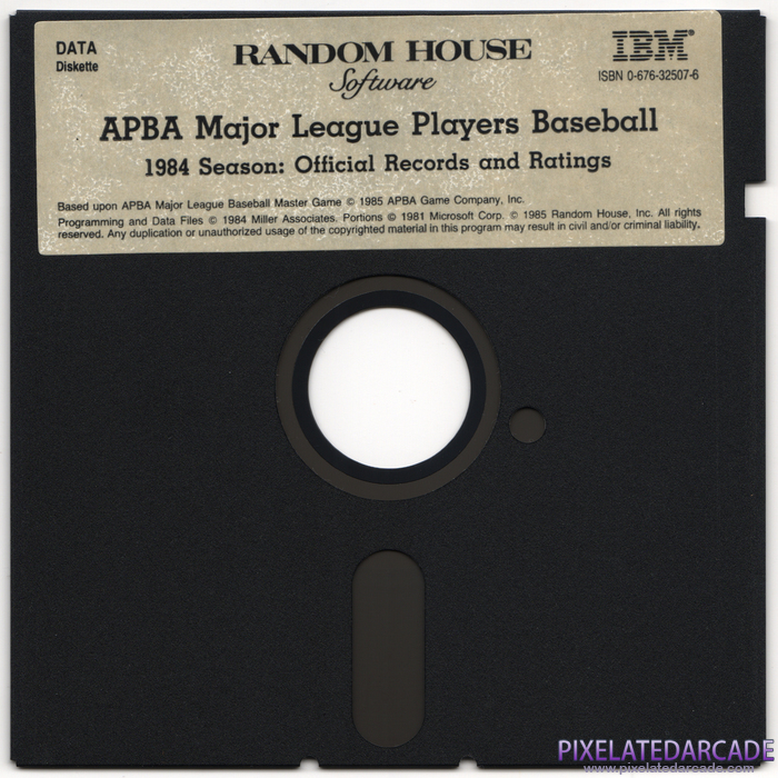 APBA Major League Players Baseball: 1984 Season - Official Records and Ratings Cover Art: