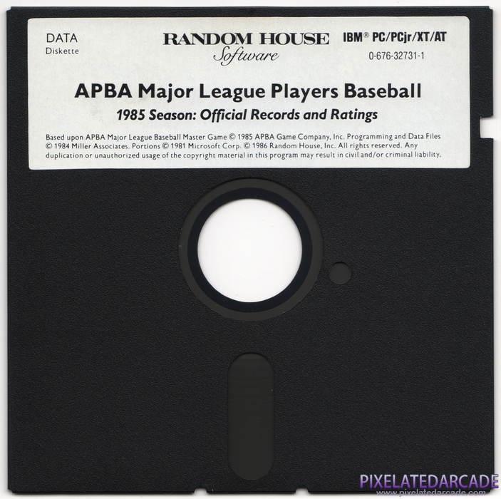 APBA Major League Players Baseball: 1985 Season - Official Records and Ratings Cover Art: