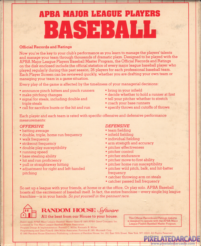 APBA Major League Players Baseball: 1987 Season - Official Records and Ratings Cover Art: