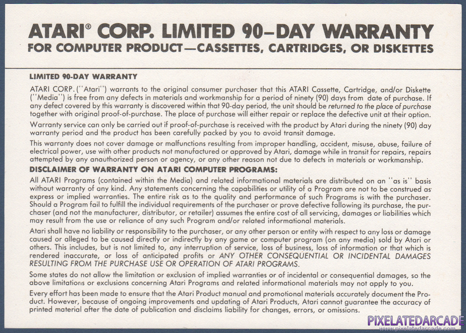 Ikari Warriors Package Contents: Warranty information card - Back