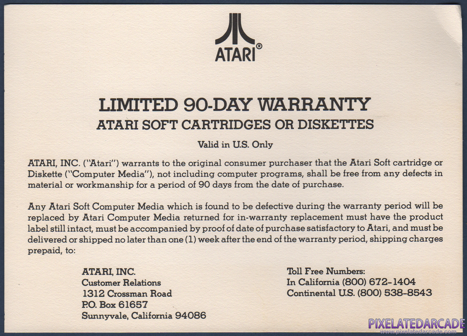 Protector II Package Contents: Warranty information card - Front