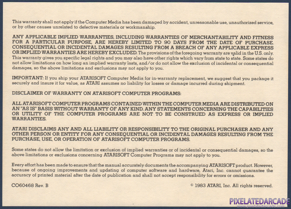 Battlezone Package Contents: Warranty information card - Back
