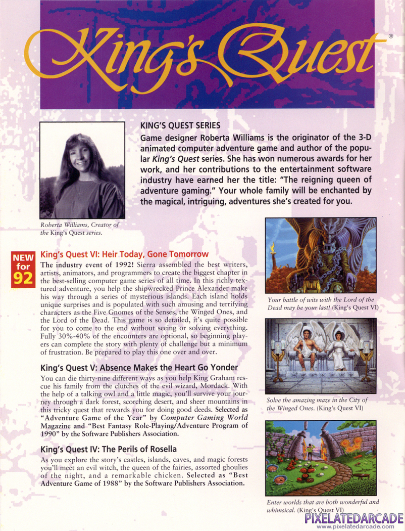 King's Quest VI: Heir Today, Gone Tomorrow Advertisement: Sierra 1992 product catalog