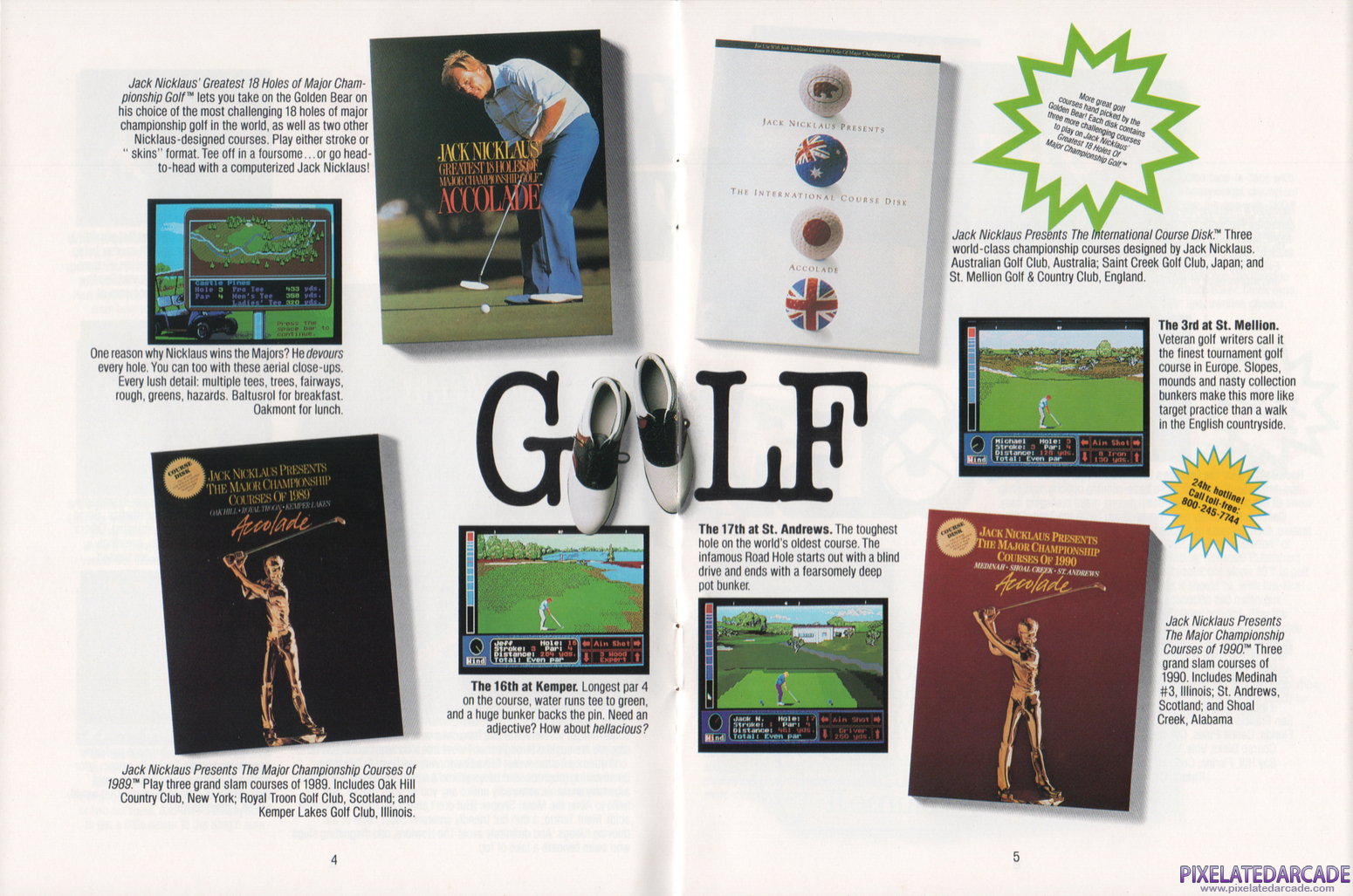 Jack Nicklaus' Greatest 18 Holes of Major Championship Golf Advertisement: Jack Nicklaus' Greatest 18 Holes of Major Championship Golf in the Accolade 1990 product catalog