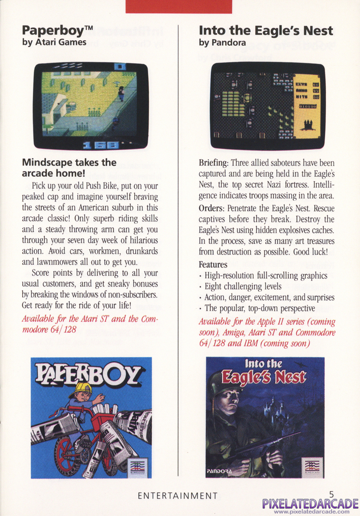 Paperboy Advertisement: Mindscape 1988 product catalog