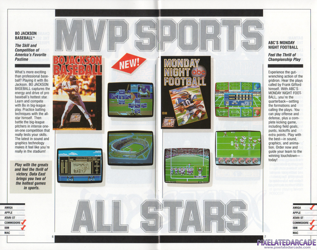 ABC Monday Night Football Advertisement: Data East 1990 product catalog