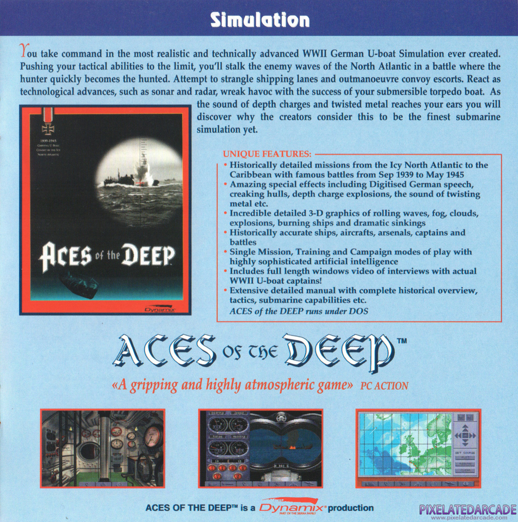 Aces of the Deep Advertisement: Sierra 1994-1995 Multimedia Catalog