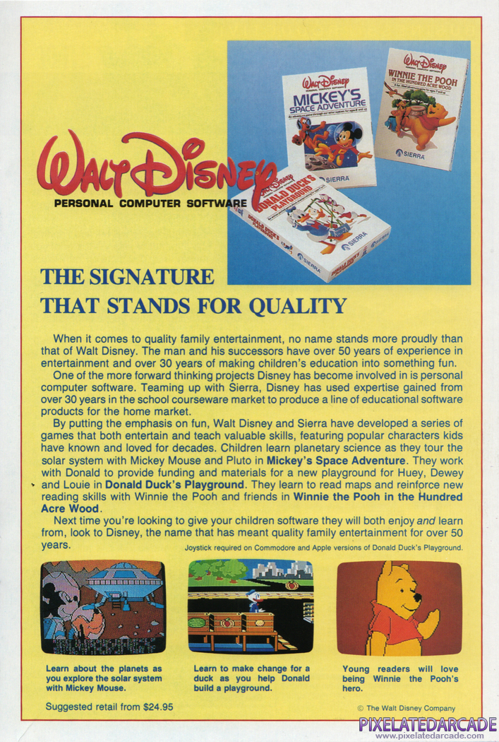 Mickey's Space Adventure Advertisement: Disney games in Sierra 1987 product catalog