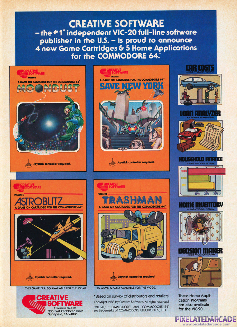 Astroblitz Advertisement: Creative Software July 1983 magazine ad