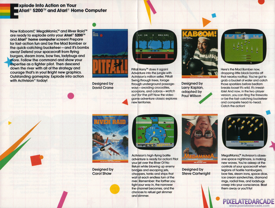 River Raid Advertisement: Atari 5200 games in the Activision product catalog