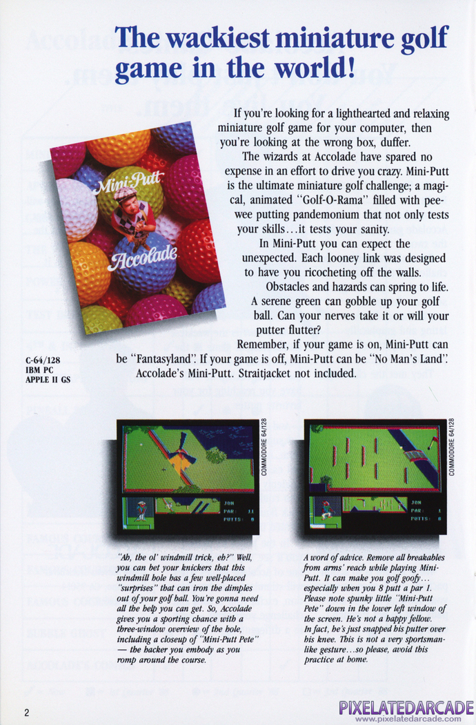 Mini-Putt Advertisement: Accolade 1988 product catalog