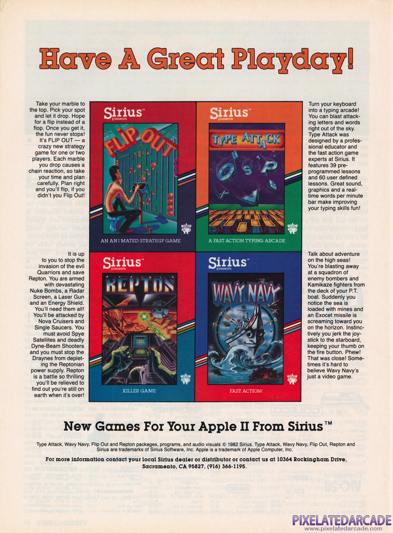 Type Attack Advertisement: Sirius Software June 1983 magazine ad