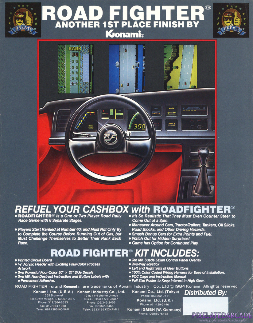 Road Fighter Advertisement: Road Fighter flyer - Back