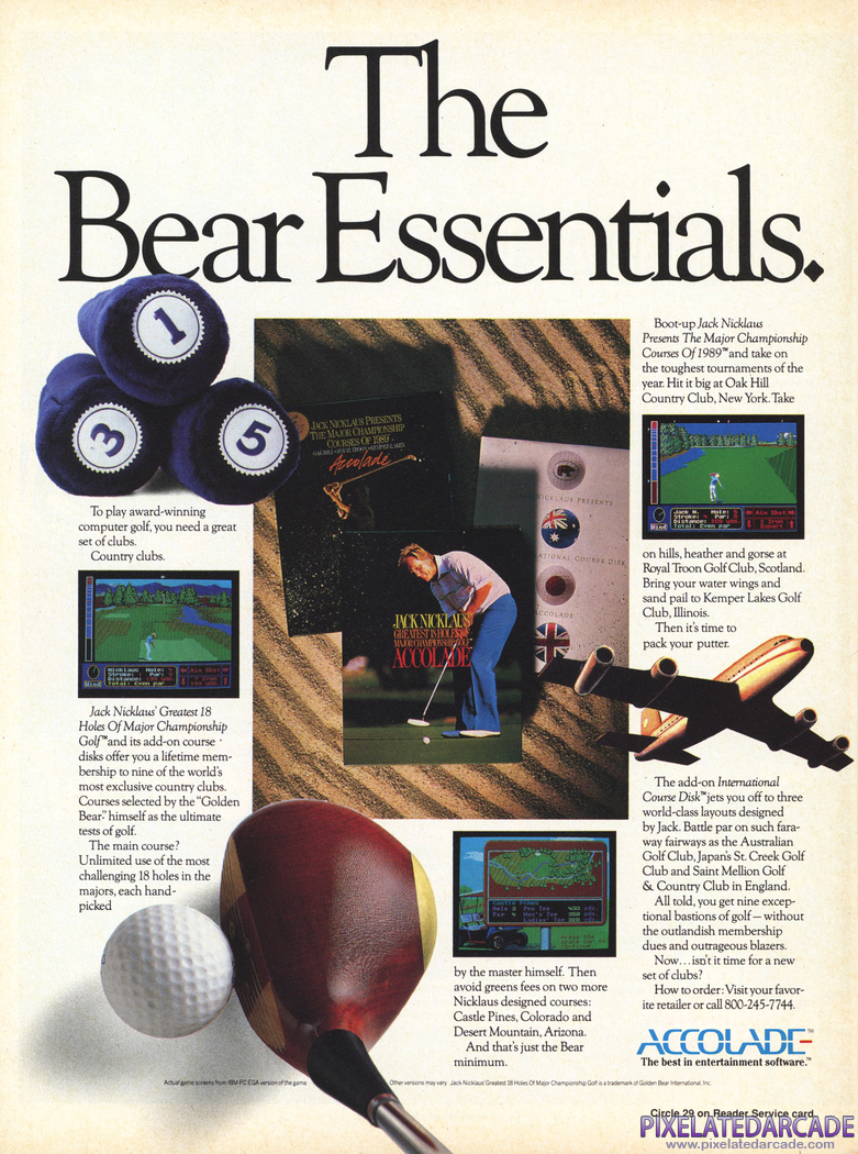 Jack Nicklaus' Greatest 18 Holes of Major Championship Golf Advertisement: December 1989 magazine ad