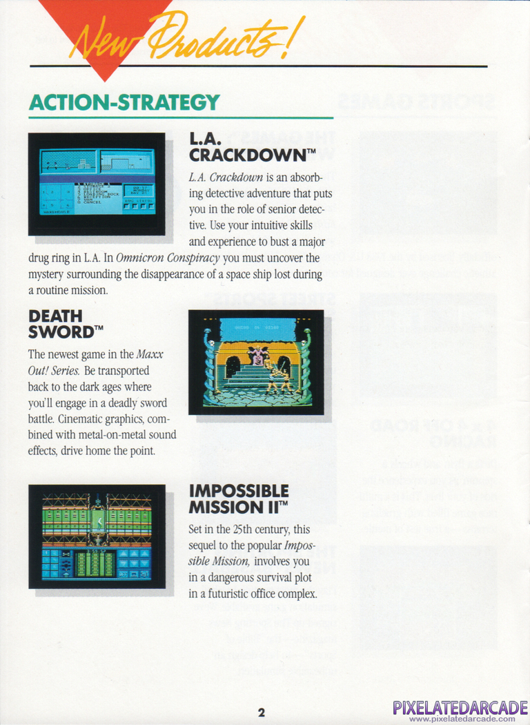Impossible Mission II Advertisement: Impossible Mission II in the Epyx product catalog