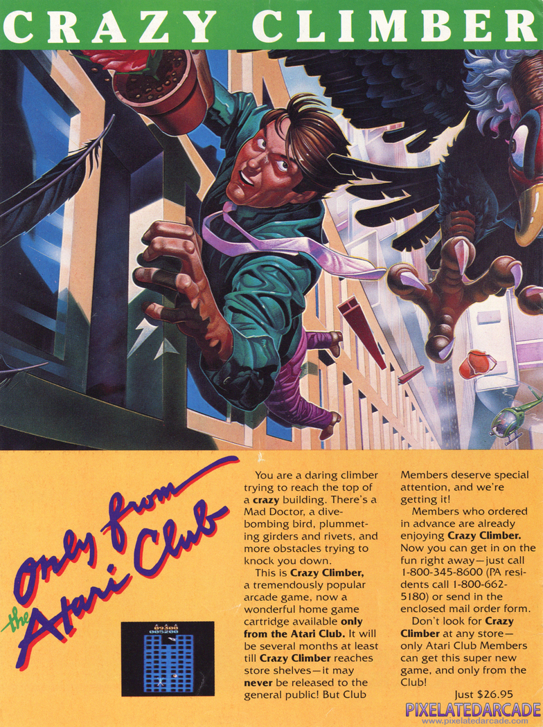 Crazy Climber Advertisement: Atari Age magazine April 1983 promotion