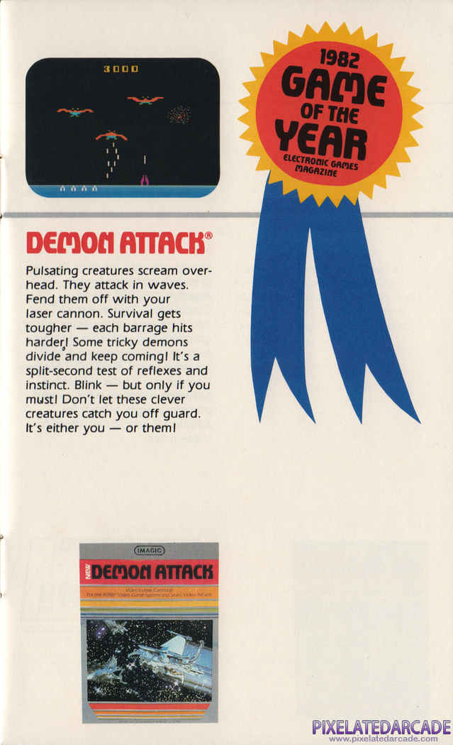 Demon Attack Advertisement: Atari 2600 Demon Attack in the Imagic product catalog