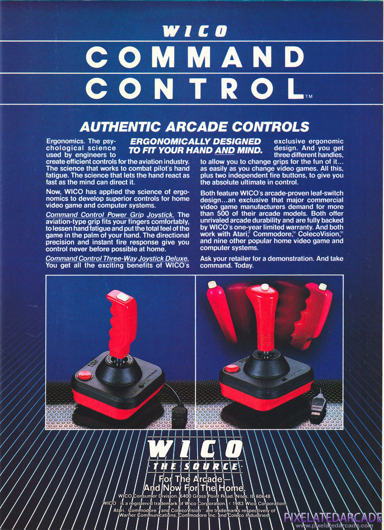 Joystick Advertisement: Wico Command Control - 1983 magazine ad