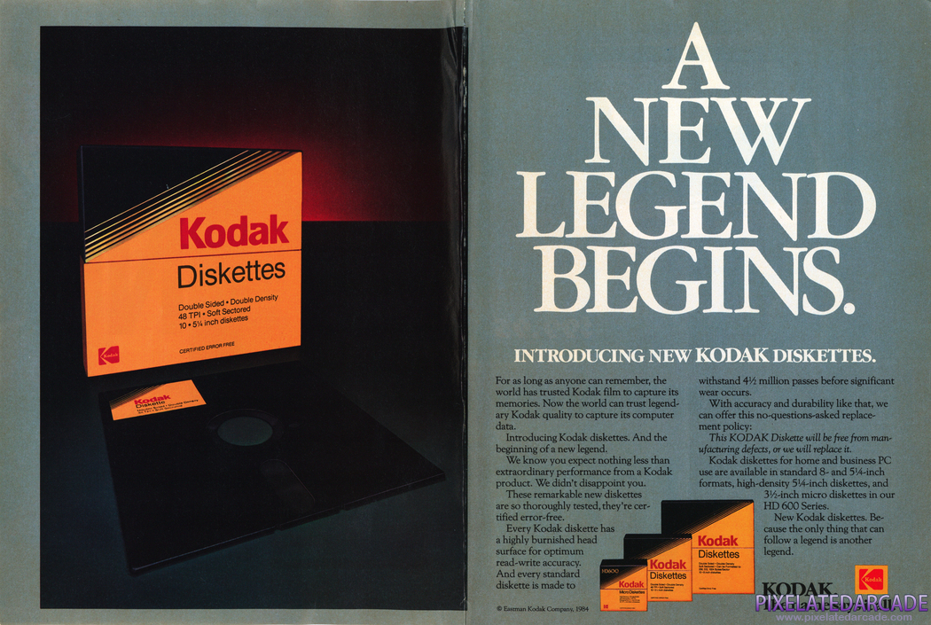 "5.25"" Disk Advertisement: Kodak blank disks, March 1985 magazine ad"