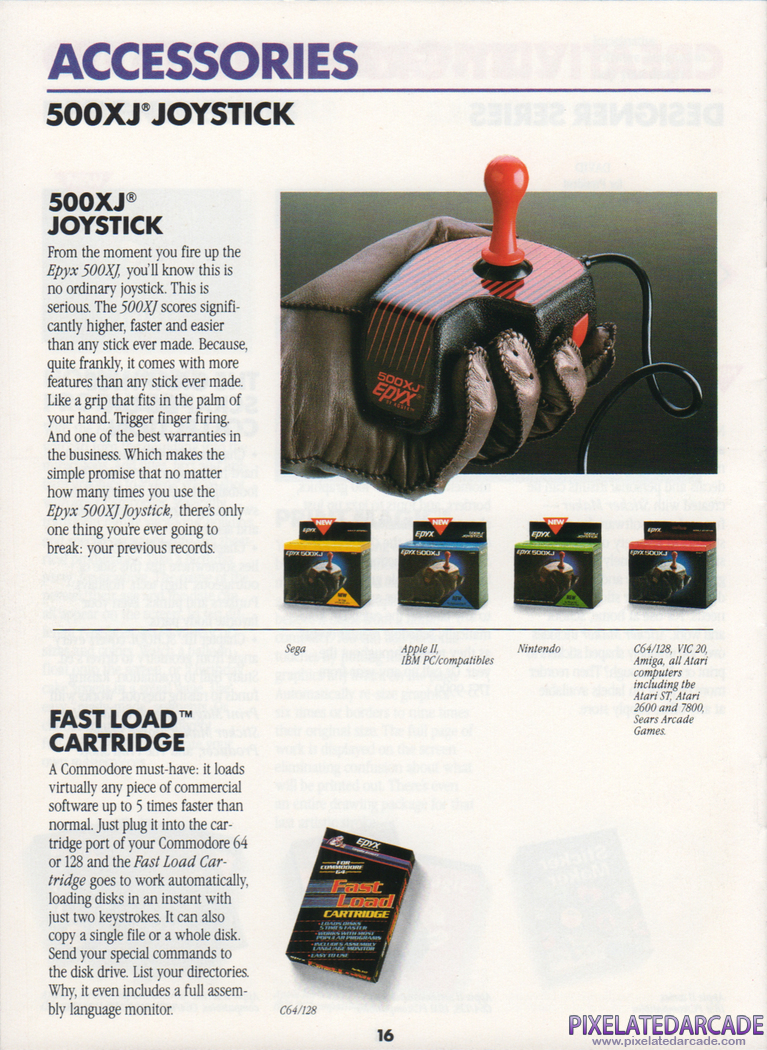 Joystick Advertisement: 500XJ joystick in Epyx product catalog