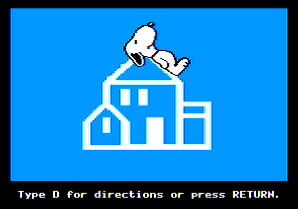 Peanuts Maze Marathon Apple II Screenshot: Random House logo; need to view the game instructions?