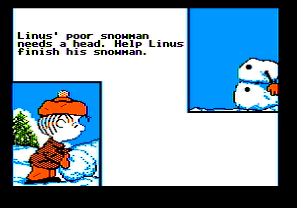 Peanuts Maze Marathon Apple II Screenshot: Help Linus build a snowman...