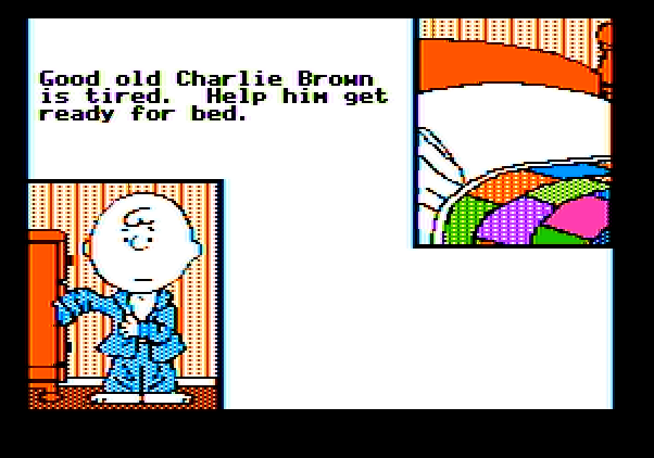 Peanuts Maze Marathon Apple II Screenshot: Here's your objective...