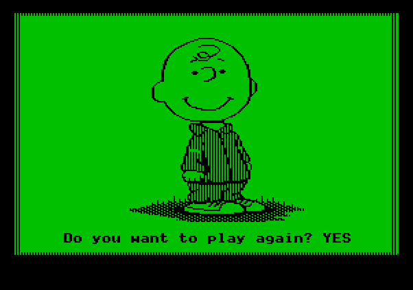 Peanuts Maze Marathon Apple II Screenshot: Play the game again?