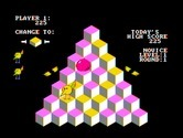 J-Bird for IBM PC/Compatibles - Level one; change the blocks to yellow by jumping on them...