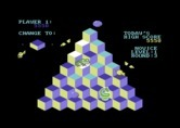 J-Bird for Commodore 64 - The green frog changes cubes back into the wrong color.