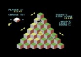 J-Bird for Commodore 64 - On this round you need to jump on each cube twice to reach the target color.