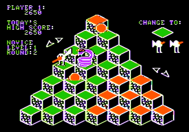 J-Bird Apple II Screenshot: Jump on to the wings to evade the snake.