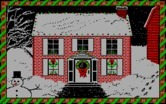Jingle Disk for IBM PC/Compatibles screenshot thumbnail - Houses are decorated with flashing christmas lights.