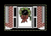 Jingle Disk for Commodore 64 screenshot thumbnail - A wreath on the door of one of the houses.