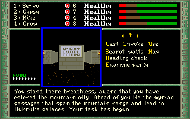 Dark Heart of Uukrul, The IBM PC/Compatibles Screenshot: Your task has begun...ahead lie myriad passages...