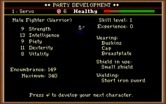 Dark Heart of Uukrul, The for IBM PC/Compatibles - Character stats.