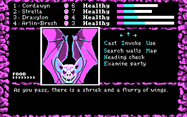 Dark Heart of Uukrul, The IBM PC/Compatibles Screenshot: About to begin battle with some bats.