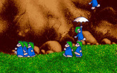 Lemmings for Amiga - Lemmings landing...