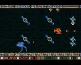 Blood Money for Amiga - Avoid these spinning obstacles.