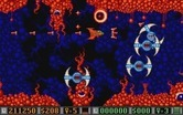 Blood Money for Atari ST - These giant spinning monsters need to be destroyed to make it past this area.