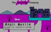 Magic Spells for IBM PC/Compatibles screenshot thumbnail - Title screen (version 1.1J).
