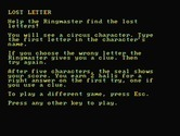 Alphabet Circus for IBM PC/Compatibles screenshot thumbnail - Game instructions for lost letter.
