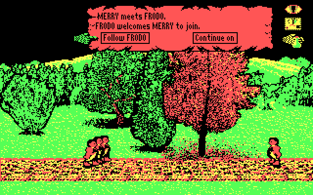 J.R.R. Tolkien's War in Middle Earth IBM PC/Compatibles Screenshot: Continue following Frodo, or split up?