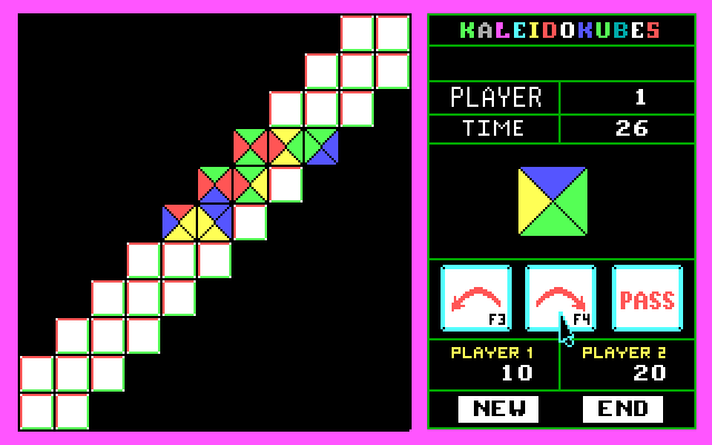 KaleidoKubes IBM PC/Compatibles Screenshot: The odd shape and few open spaces make this board challenging.