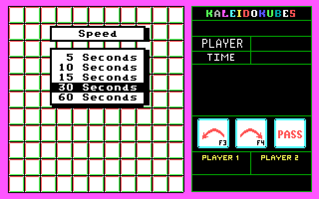 KaleidoKubes IBM PC/Compatibles Screenshot: Setting options for the next game.