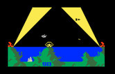 Atlantis for Intellivision - At night, you can only see enemies when they are in the search lights...