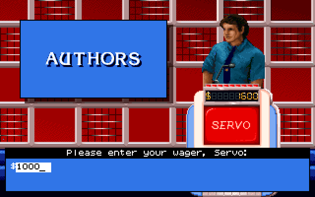 Jeopardy! IBM PC/Compatibles Screenshot: Placing a bet for the final jeopardy round.
