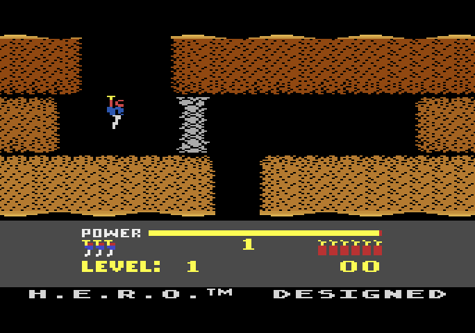 H.E.R.O. Atari 5200 Screenshot: Title screen and game demo mode.