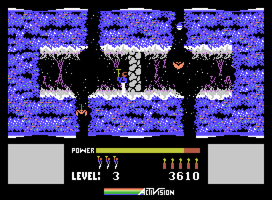 H.E.R.O. ColecoVision Screenshot: Use bombs to blow up these walls...